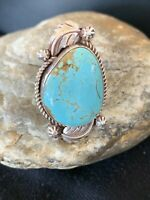 WoMens Navajo Native American Sterling Silver Blue Turquoise#8 Ring Sz 7 671 Sal