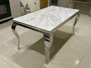 Louis Marble Dining Table White Marble Dining Table with Louis Chrome Legs 1.6 m