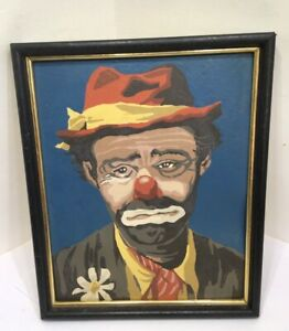 Paint By Number Hobo Clown Painting 1972 Wooden Frame Signed By Artist Circus