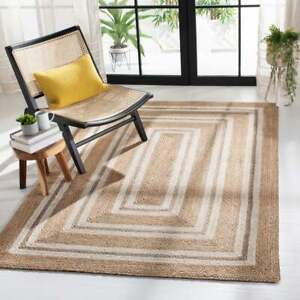 Indian natural jute rug whit white border vintage area rug indoor/outdoor rugs