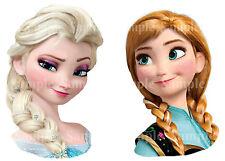 Disney Princess Frozen Anna & Elsa Braid Face Edible Icing Birthday Cake Toppers