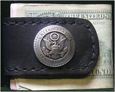 Handcrafted Leather Money Clip with US Armed Forces Concho