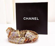 CHANEL Gold Chain Amber Purple BEAD WAIST BELT