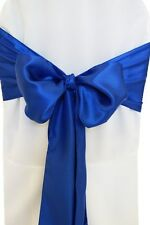 "100 Royal Blue Satin Chair Cover Sash Bows 6"" x 108"" Banquet Wedding Made USA"