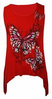 Ladies Womens Plus Size Butterfly Print Sleeveless Waterfall Long Vest Top 14 24