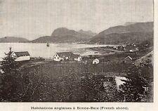 TERRE NEUVE NEWFOUNDLAND BONNE BAIE HABITATION ENGLISH COTTAGE IMAGE 1890 PRINT