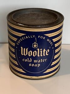 Vintage Woolite cold water Laundry Soap tin, With Lid, Full