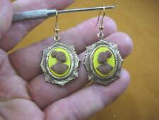 CAE1-34) RARE African American LADY brown + yellow CAMEO dangle Earrings JEWELRY