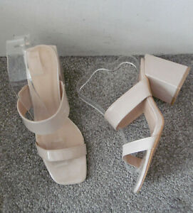 Nude Patent Strappy Square Toe Block Heel Mules, Size UK 8 EU 41 - Wide Fit
