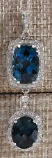 14.19 Carat Natural Topaz 14K White Gold Diamond Necklace