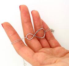 Sterling silver 925 Infinity Bracelet Love knot Eternity Symbol bracelet (B1)