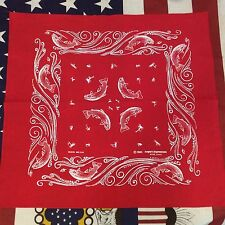 TRUE VINTAGE AMERICAN RED FISHING ANGLER BANDANA HEADSCARF NECKERCHIEF 80s (B129