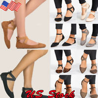 Women Ballet Ballerina Dance Shoes Ankle Strap Casual Slip On Flat Sandals Shoes