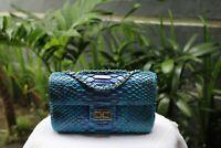 Genuine Python Hand Bag - Medium Pouch Blue & Red