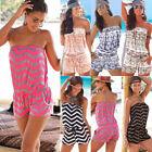 Boho Womens Off Shoulder Strapless Playsuit Ladies Summer Beach Shorts Jumpsuit