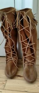 Minitonka Suede Boots lace up funky boots.  Perfect for summer festival wear.