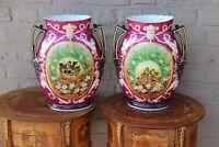 XL Pair French vieux paris porcelain birds scene Vases 1960