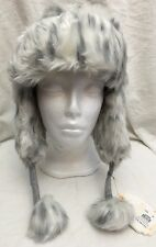 NEW Pottery Barn Faux Fur Trapper /Bomber Hat Grey Leopard Winter PB Teen 1 Size