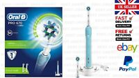 Oral-B PRO670 3D CrossAction Rechargeable Electric Toothbrush+2 Heads*UK SELLER*