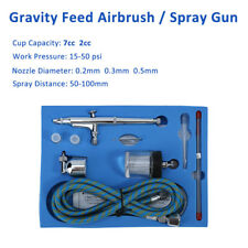 Dual action Gravity Feed AirBrush Spray Paint Gun Hose Nozzle Needle Nail Tattoo