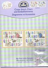 """DMC Lickle Ted Cross Stitch Chart Pack """"My First Lickle Sampler"""" for boy or girl"""