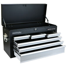 HARDCASTLE BLACK 6 DRAWER LOCKABLE METAL TOP CHEST TOOL BOX WITH CARRY HANDLES
