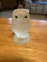Vintage Russ Vogelsong Summit Art Glass Clear Owl Paperweight Figurine