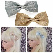 """NEW PACK 2 GLITTER SPARKLE 4"""" BOW HAIR CLIPS GOLD & SILVER DISCO PARTY GIRLS"""