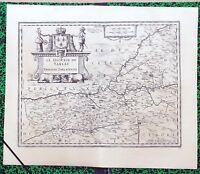 XVII ème - Le Diocèse de Sarlat Belle Carte par Jean Tarde & Hondius de 1625
