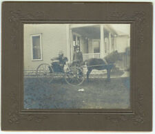 VINTAGE PETS BUGGY: Horse, Buggy, Dog and Child in Front of Home Cabinet Card