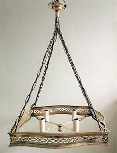 Antique Brass 4 Gang Pendant Ceiling Light Restored Edwardian