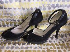 Office Black Suede Heels Size 5 Ankle Straps Rockabilly
