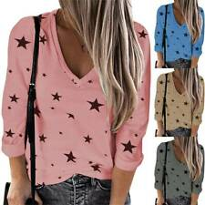 Womens Fashion V-Neck Star Printed Loose Long Sleeve T-Shirt Casual Blouse Tops