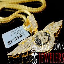 10K Yellow Gold On Silver Simu Diamond Bentley Pendant Flying B Logo Wing Charm