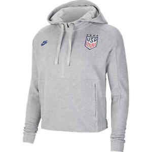 Nike Women's 2020 USA Cropped Gray Pullover Hoodie USWNT Soccer Top Size Large