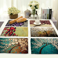 Three-dimensional Painting Cotton Linen Placemat Dining Table Mat Home Kitchen