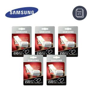 Lot of 5 Samsung 32GB MicroSDHC 95MB/s C10 Flash Memory Card w/ Adptr EVO Plus