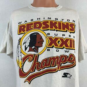 Starter Washington Redskins Super Bowl 22 Champ Single Stitch T Shirt Vtg 1988 L