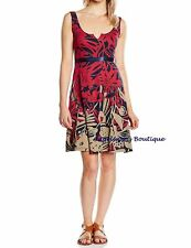 DESIGUAL JASMINE RED/BLUE ABSTRACT FLORAL TIE BELT DRESS SIZE M UK 12 NEW