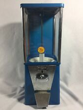 VTG BLUE, OAK BRAND ASTRO QUARTER CANDY BUBBLEGUM GUMBALL MACHINE W/ LOCK & KEY