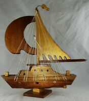 Vintage wooden sailboat wood sail, nautical decor, gift for sailor, 12 in tall!