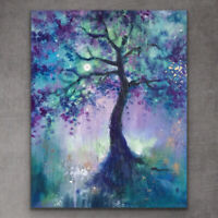 "24x32"" X LARGE ORIGINAL Painting - Colourful Modern Moon Tree By J TAYLOR"