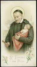 antico santino cromo-holy card S.VINCENZO DE PAOLI