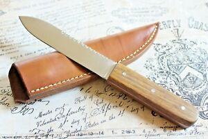 Cline Custom Wood Fixed Blade Leather Sheath Fish Scaler Knife
