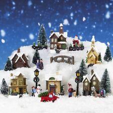 25pc Christmas Scene Set Miniature Light up LED Mini Village Resin Figures Town