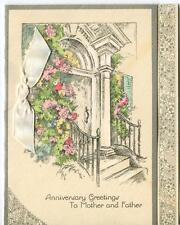 VINTAGE CLIMBING ROSES ARCHWAY DOOR WAY STAIRS ARCHITECTURE GREETING ART CARD
