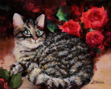 Art Original Animal Oil Painting CAT Impressionism STILL LIFE Roses by Patula