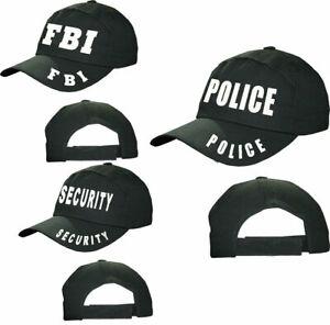 Adults FBI Police Security Black Baseball Cap Unisex Trucker Outdoor Sports Hat
