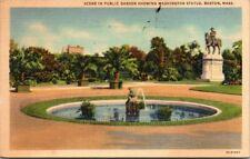 Postcard Scene In Public Garden Showing Washington Statue Mass