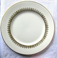 "Myott Tiffany Dinner Plate, White and Gold 10 1/2"" Christmas Serving Plate"